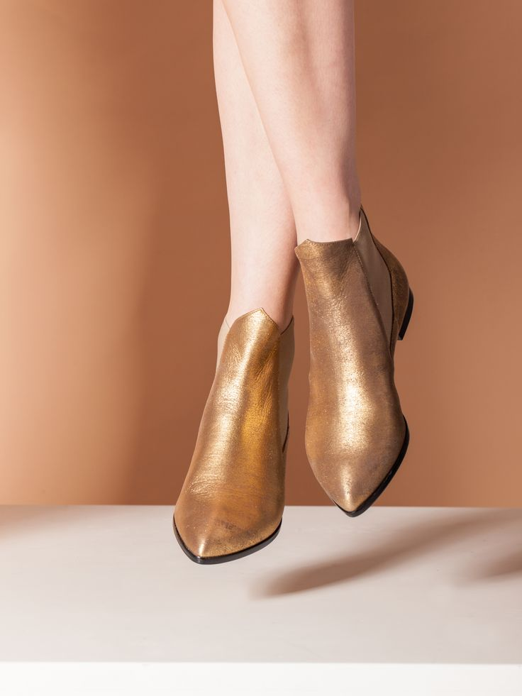 Tristan, golden,nappa leather, ankleboots, shoes handcrafted, floating, Lamperti Milano
