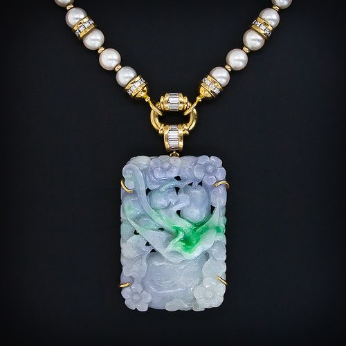 Carved Lavender and Green Jade, Pearl and Diamond Necklace