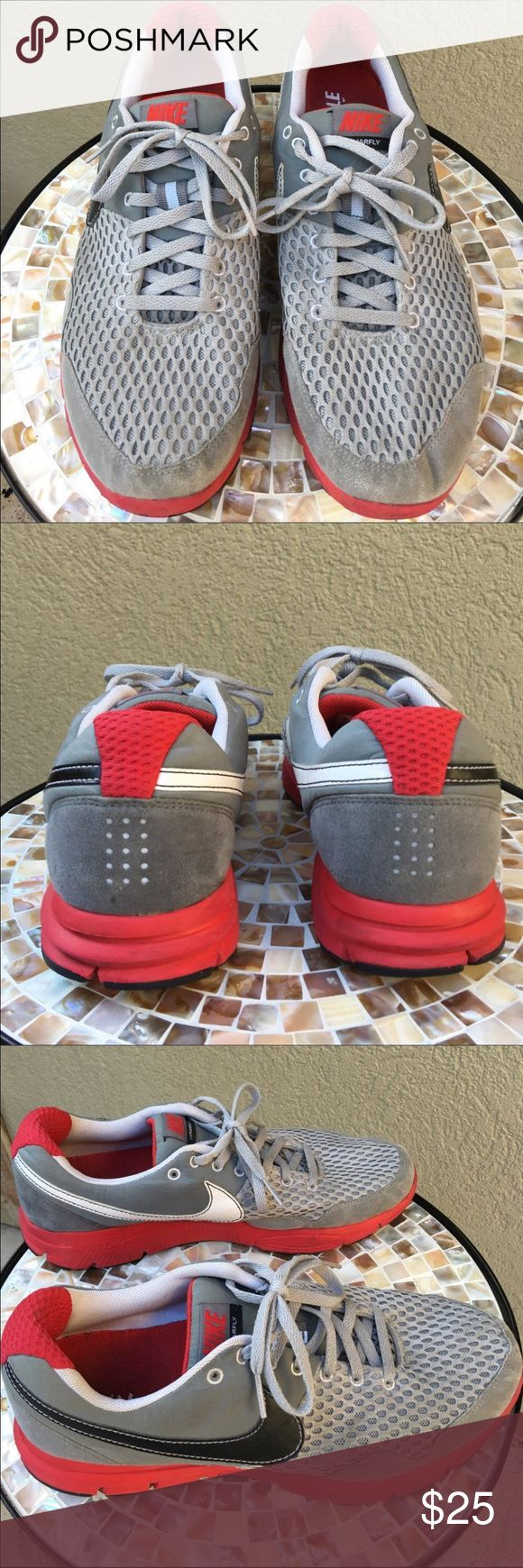 🆕Nike Men's Lunarfly Tennis Shoes Men's Nike Lunarfly tennis shoes - Grey & Red with black accent colors  tennis shoes.EUC  ✅I ship same or next day ✅Bundle for discount Nike Shoes Sneakers
