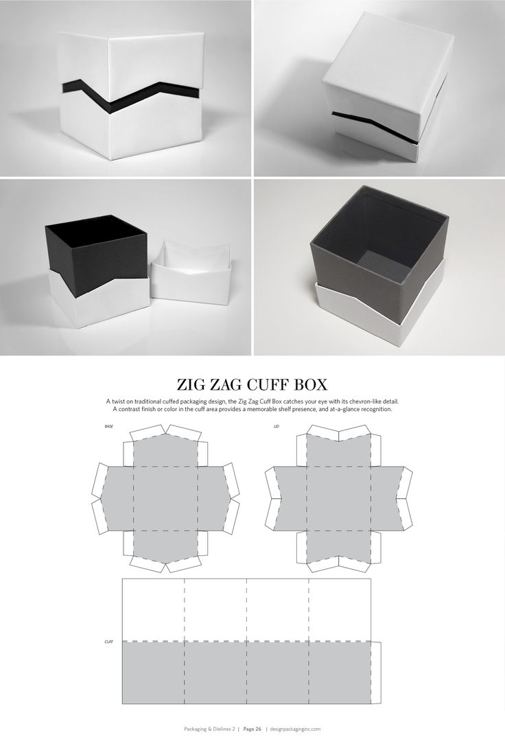 Zig Zag Cuff Box – structural packaging design dielines PD
