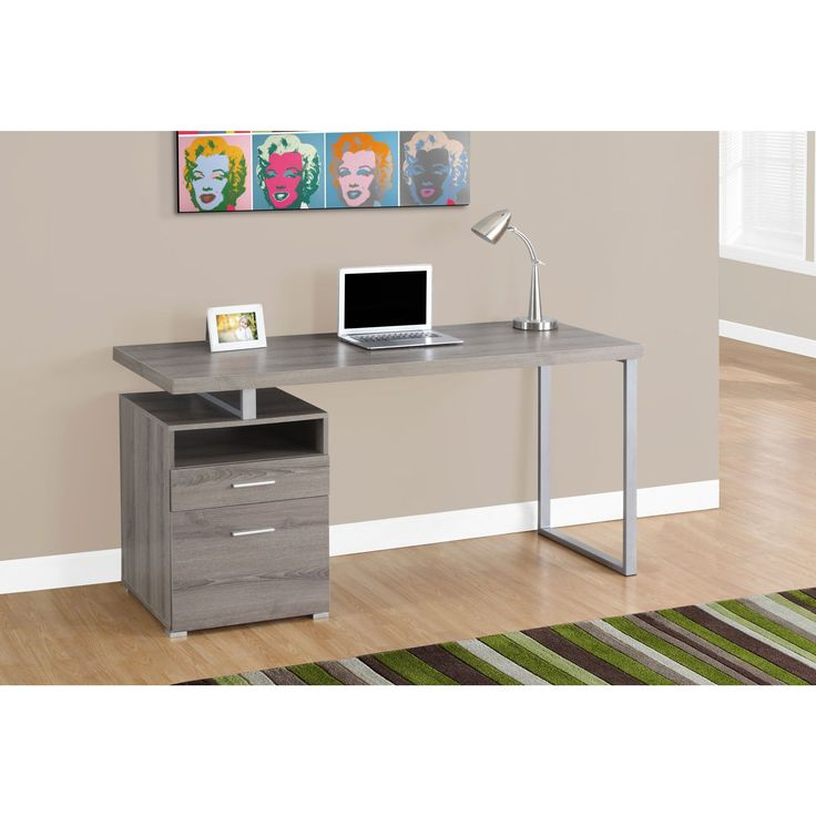 Sleek and contemporary, this dark taupe distressed-look finished desk is the perfect combination of function, durability and design in a modern form. This piece will add pizzazz to any home office.
