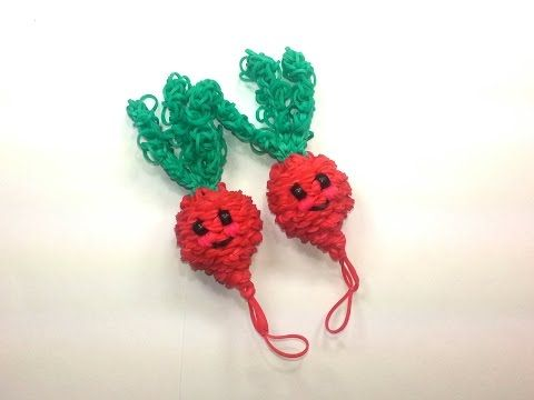 Rainbow Loom - 3D Happy RADISH  Charm. Designed and loomed by Ellen Carpenter at feelinspiffy. Click photo for YouTube Tutorial. 08/24/14.