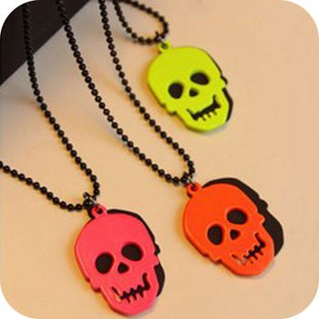 0,14 euro excl shipping vintage  skull   punk neon  female long design   necklace men jewelry necklaces & pendants A81