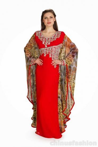 Numa Red Chiffon Gown Style Kaftan  #kaftan, #chiffon dress, # Gown dress