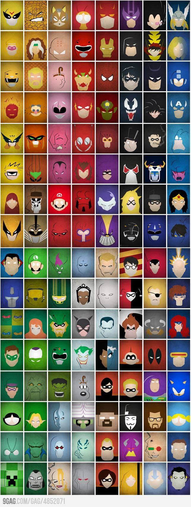 Minimalist Villains and Super Heroes
