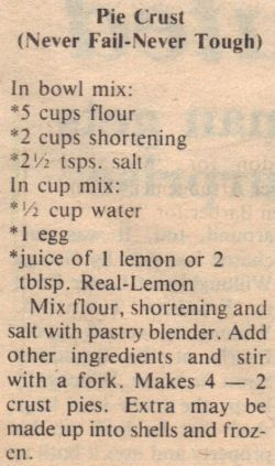 No Fail Pie Crust Vintage Recipe Clipping