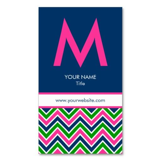 239 best monogram business cards images on pinterest card patterns preppy monogram chevron business card pinknavy colourmoves Gallery
