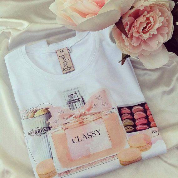 Lovely new t-shirt white cotton perfume classy di ReveplusAtelier