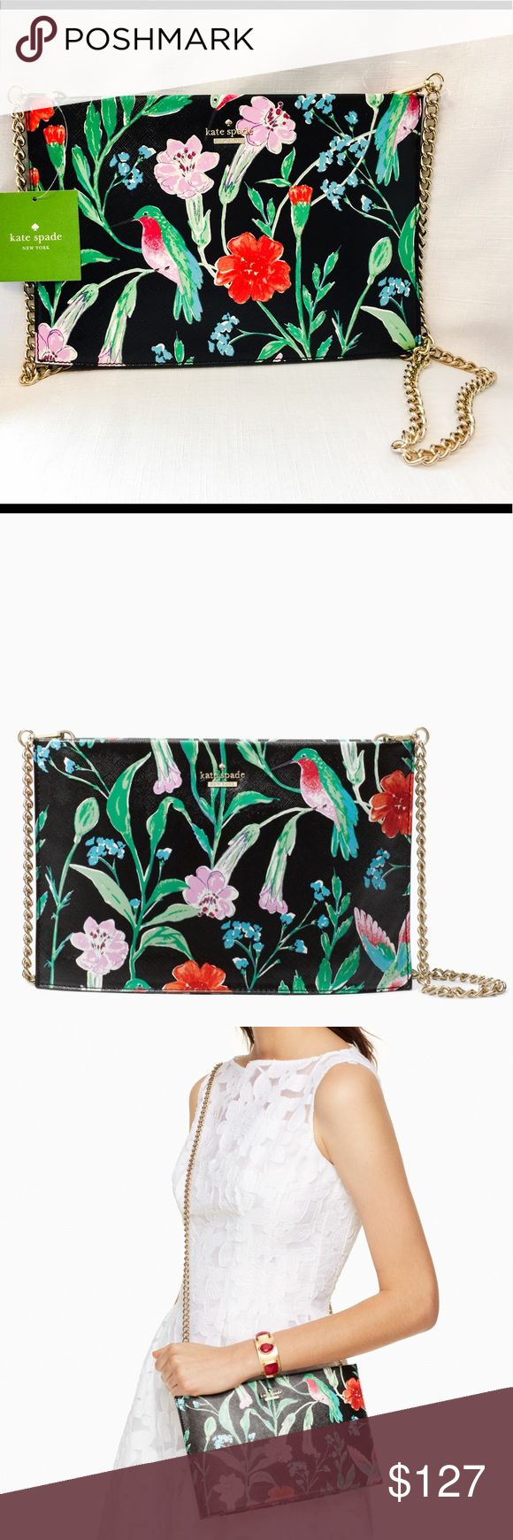 New Kate Spade Cameron Street Jardin Sima! What a delight it was to photograph this bag! ☺️ The colors are 😍😍😍.  With a unique and very pretty exterior, this one is sure to get you lots of compliments.  This is a clutch with a removable snake chain.  So wear it on your shoulders or just carry it around 😏 It also has a zip top closure as well as an interior slide pocket. Dust bag included. kate spade Bags Shoulder Bags