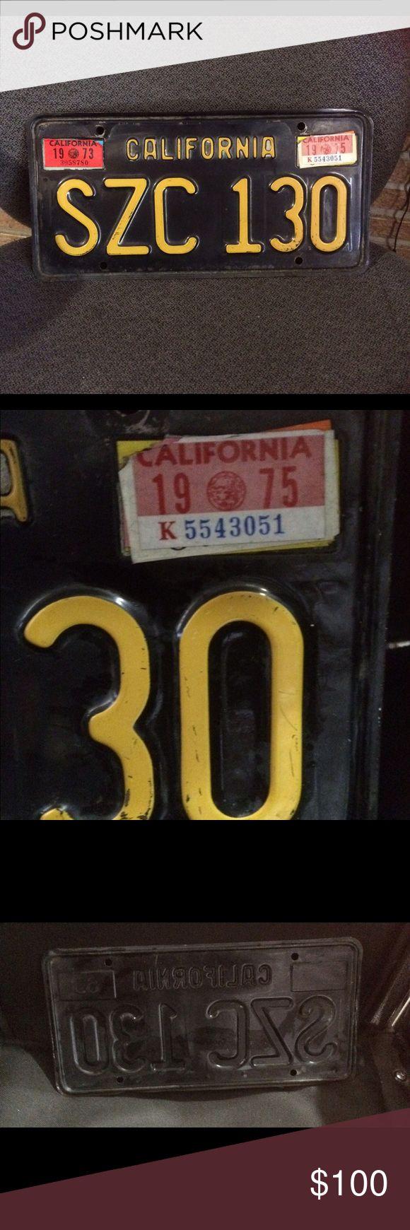 California license plate vintage black