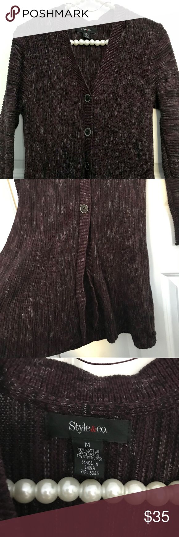 "Macy's Style & Co. Purple Multi Cardigan Sweater EUC $69.50 Macy's Style & Co. ""Dark Grape Combo"" Multi Colored Cardigan Sweater featuring button up detail, forgiving fly away bottom, long sleeves, and v-neck style. Hits at hip, semi-long Sweater. Soft Cotton and rayon blend. Pretty dark purple with black and white accents. Perfect for work or casual wear, versatile from day to evening...great with slacks and jeans!Perfect winter sweater. Excellent pre-loved condition. Worn once, hand washed…"