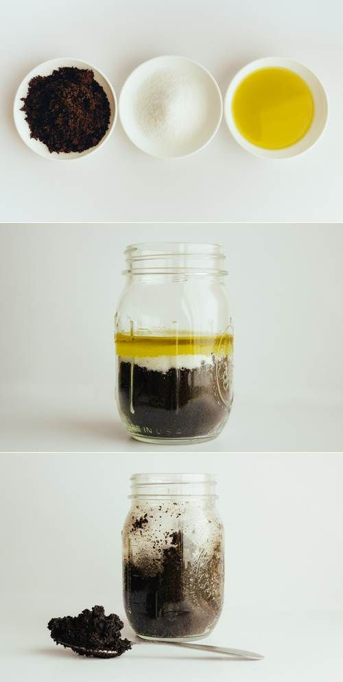 This simple scrub is comprised of 3 simple ingredients: 1 Cup Brewed Coffee Grounds 1/4 Cup Sea Salt Enough Olive Oil to make a dry paste