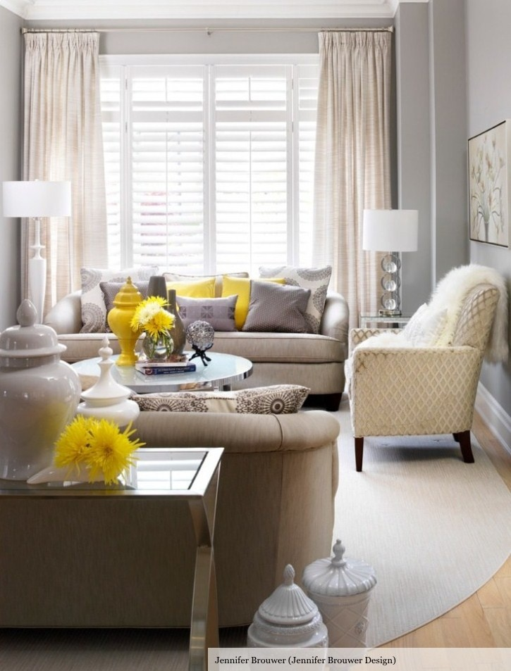Pops of yellow grey walls taupe sofa living room - Living room color schemes grey couch ...