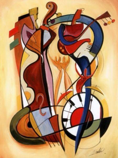 """Homenaje a Kandinsky"". Alfred GOCKLE, pintor y grabador alemán, nació en 1952 en Lüdinghausen. En el plano artístico, Alfred Gockel pinta cuadros coloristas, próximos al expresionismo, similares a los de Kandinsky. (Musiciens create the form of music through pitch, harmony, melody, rhythm, repetition, tone and dexterity with their instrument, honed by countless hours of practice and performance. The visual artist's formal tools are equivalent: line, color, composition, spatial and…"