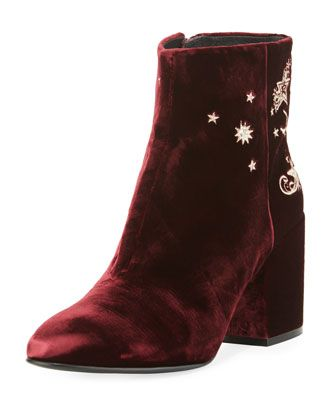 Elixir+Embroidered+Velvet+Boot,+Bordeaux+by+Ash+at+Neiman+Marcus.