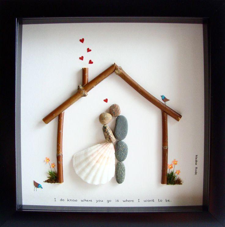 Wedding Gift Pebble Art- Custom Wedding Gift- Personalized Wedding Gift- Bride and Groom Gift- Housewarming Gift- Couple's Gift- Pebble Art by Medha Rode at https://www.etsy.com/shop/MedhaRode