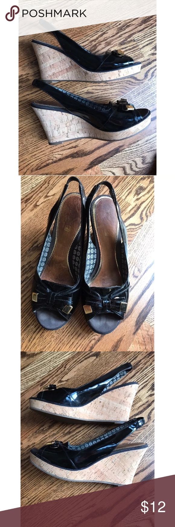 "🌷Sperry Southampton Black Patent 3.5"" Wedges Very Good Pre-loved Condition!   Retails for $ 100 Size: 7.5 M Material:Leather, Cork, Man made material Description: Cute Black Patent 3.5"" Wedges from Sperry with gold bow. Sling back & peep toe style.  Leather interior has some wear. Cork and soles are in very good shape. Sperry Shoes Wedges"
