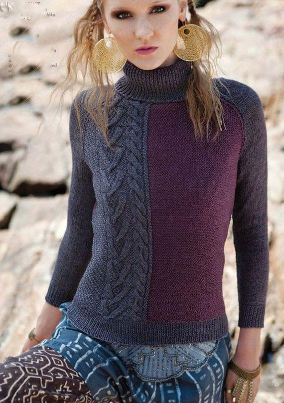Hand Knit Women's turtleneck sweater made to order hand knitted women's sweater cardigan pullover women's clothing handmade crewneck v-neck