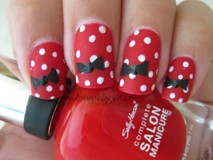 Or this for Disney?: Nailart, Minniemouse, Mouse Nails, Minnie Mouse, Disney Nails, Nail Design, Nail Art