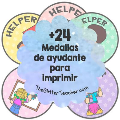 Medallas de ayudante para imrpimir - #helperbadges en color y en blanco y negro con las palabras clave de las tareas y con la palabra HELPER
