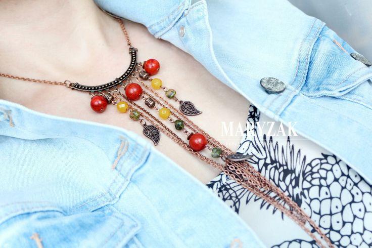 Медные кольца с подвесками из коралла, унакита, тонированного Агата, металлических подвесок. Эксклюзивный авторский дизайн. #maryzak #fashion #jewerly #look #мода #красота #стиль #колье #ручнаяработа
