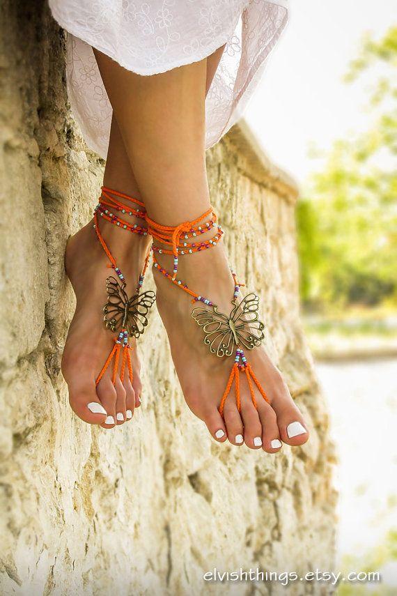Hippie beaded barefoot sandals Gypsy shoes Bare foot jewelry