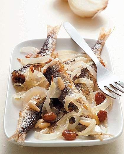 Sarde in saor -  Italian Region: Veneto; main ingredients: fresh sardines, onions, white wine vinegar, pine nuts, raisins, flour, olive oil