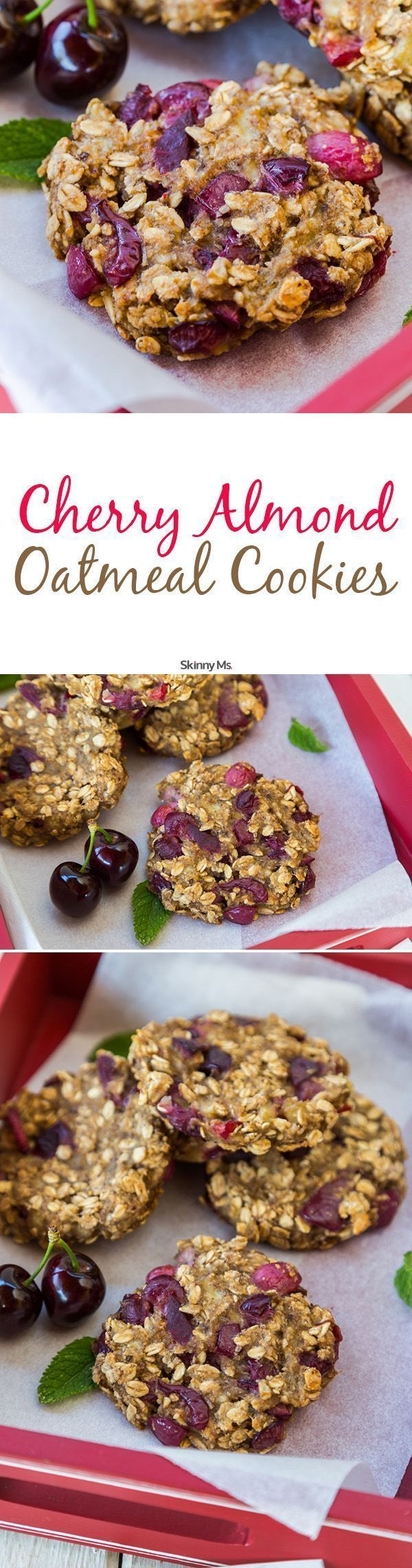 I LOVE this healthy cookie recipe for Cherry Almond Oatmeal Cookies    They are always a huge hit at my house   cookies