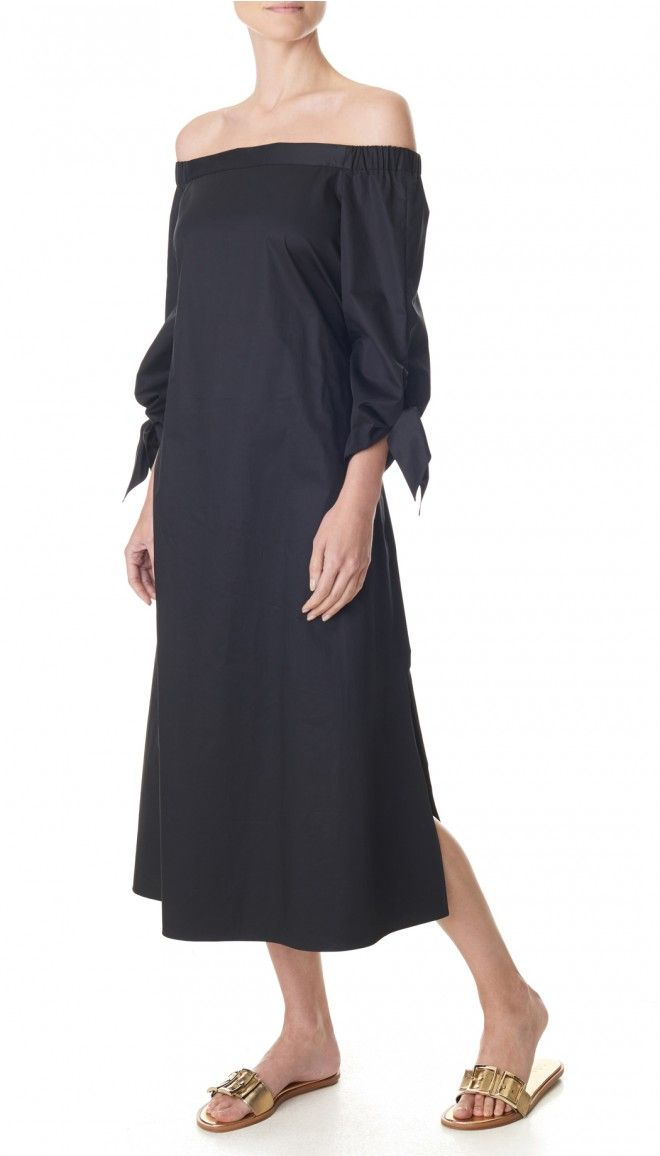 Incorporate two Tibi cult classic trends into your look with this easy all-occasion dress. The off-the-shoulder tunic is lengthened into a midi dress with tie sleeve and belt detail,s and crafted from cotton poplin for a structured yet casual fit. In-seam pockets. Unlined.    Styled with Frida Slides and Ilana Sandals  100% Cotton. Professional Dry Clean Only.  Style Number: TR316SPP14890  Available in: Black, Ribbon Red, Morning Blue, Alpine Sand