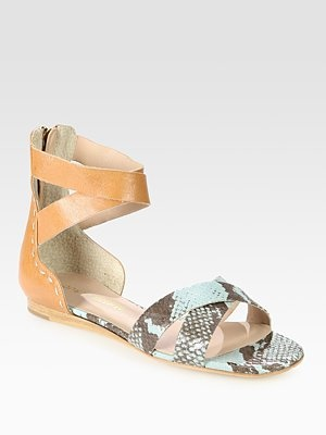 Fabia Snake-Print Leather Gladiator Sandals by Pour La Victoire Shoes Sandals Gladiator