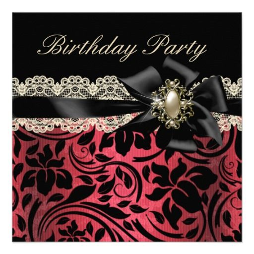 Red Pink Black Cream Damask Pearl Birthday Party Invitation