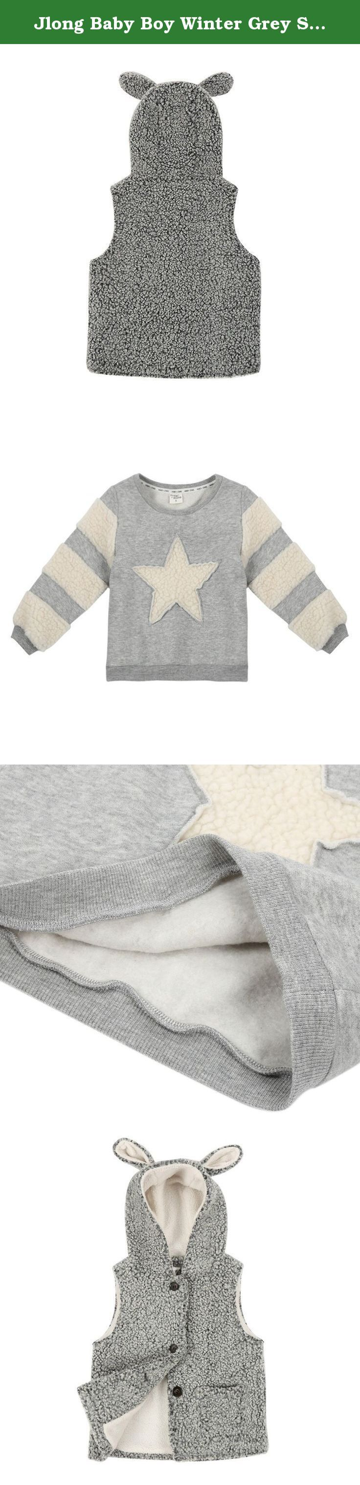 """Jlong Baby Boy Winter Grey Sleeveless Down Outerwear Vest & Pullover Sweater 2pcs. Features: Soft and breathable healthy fabric Comfortable to touch and wear Color:Grey Material:Wool & cotton Gender: Unisex,Girls,Boys Suitable Season: Winter,spring and autumn. Size Chart: Sweater Size: size5(4-5Y)------7(5-6Y,110cm)------9(7-8Y)-------11(9-10Y)------13(11Y) Length----------35cm/13.8""""-------38cm/15""""-----------41cm/16.1""""----44cm/17.3""""-----47cm/18.5""""..."""