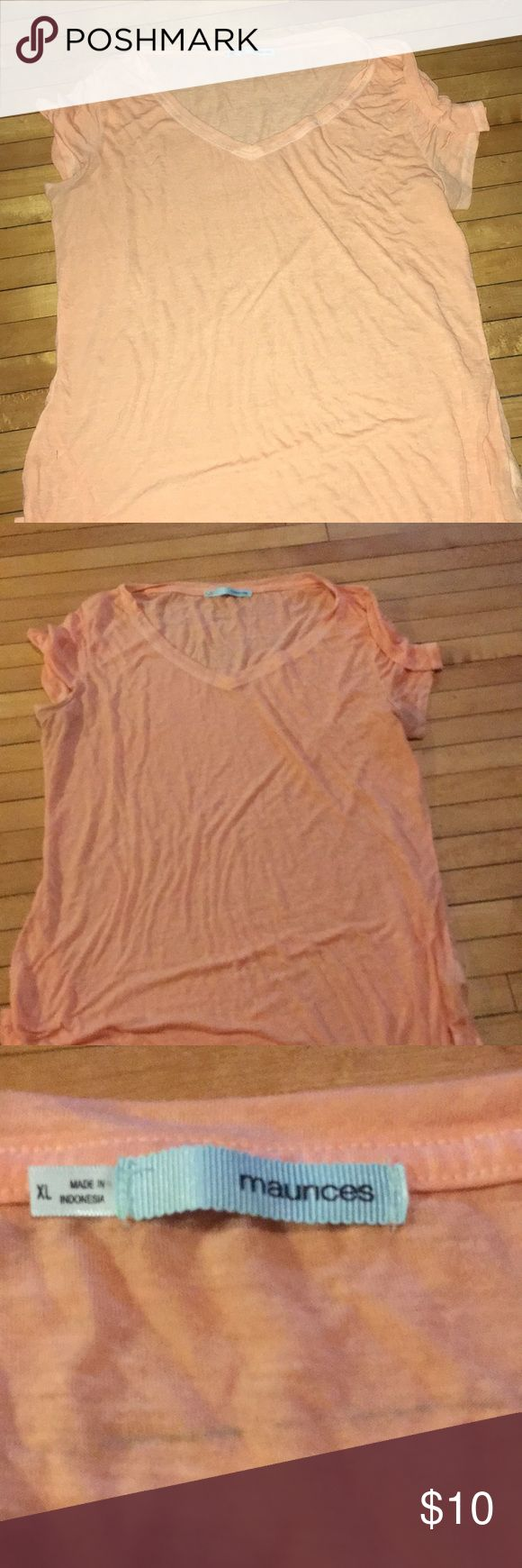 Peach colored Maurices Brand Top Ladies size extra-large, made in Indonesia. Peach colored V-neck T-shirt. Good with or without a belt around the middle. Super cute underneath the fashion jacket. Or Jean jacket. She's a cute diamond in the rough.  A106 Maurices Tops