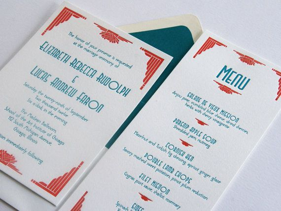 Custom Letterpress Wedding Invitations - Art Deco 1920s