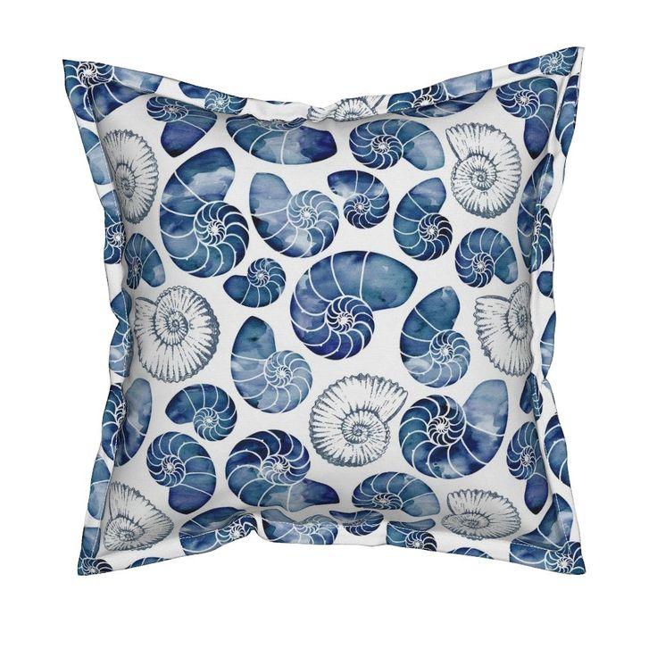 Blue nautilus shells on white on Serama by adenaj | Roostery Home Decor