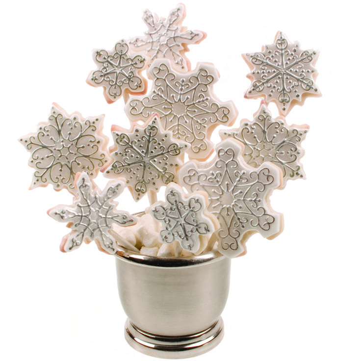 Snowflake Cookie Cutter Texture Set white fondant black food color pen super pearl luster dust Vase or container Candy clay Lightly spray snowflake mat from snowflake cookie cutter texture set. Wip...