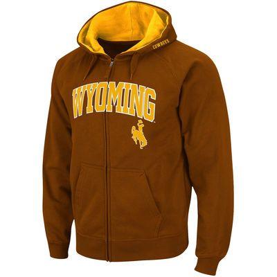 Men's Stadium Athletic Brown Wyoming Cowboys Arch & Logo Full Zip Hoodie