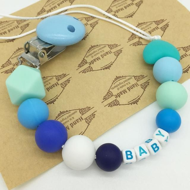 Personalised Silicone Teething Ring//Teething Rattle//Personalised Dummy Clip Blue