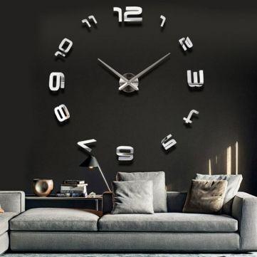 EU Direct   3D Large Sliver Modern DIY Home Decor Mirror Wall Clock Sticker