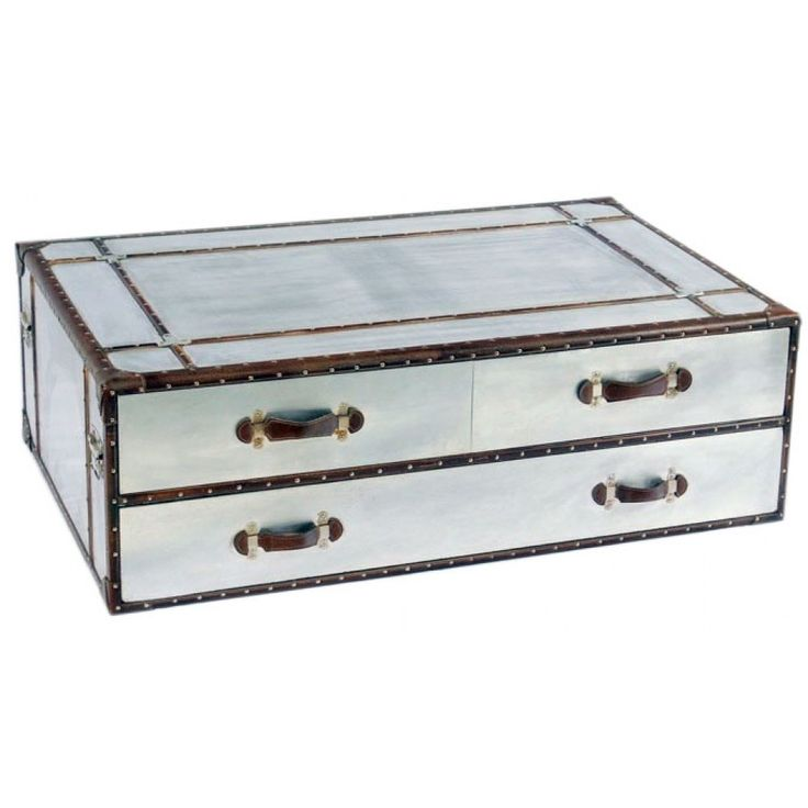 4 drawer low coffee table/tv unit. £665.99 stunning addition to our fantastic Vintage/ industrial/aluminium range