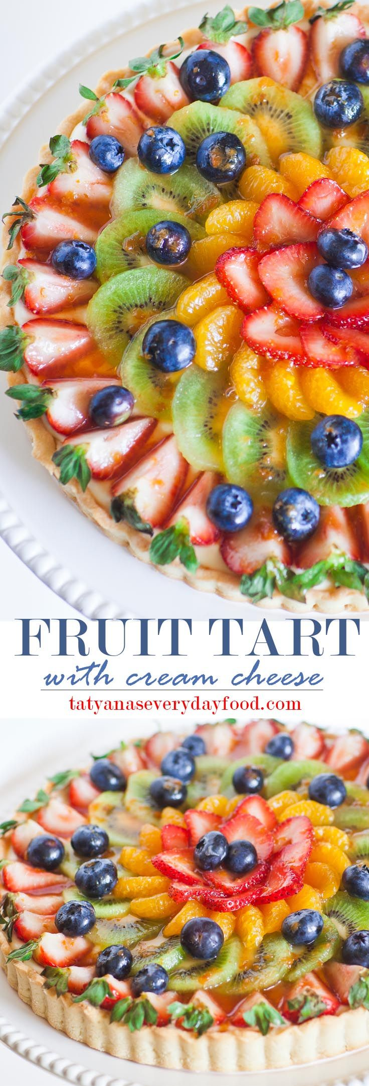 Fruit Tart with a lemon and cream cheese filling. With video recipe by Tatyana's Everyday Food