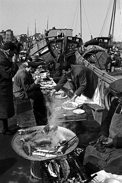 Open-air fish restaurants on the Eminönü shore of the Golden Horn, 1965 Photograph: Ara Guler/