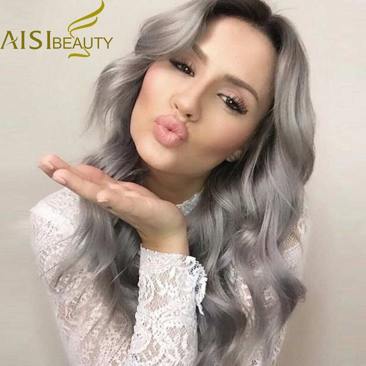 26'' Long Ombre Grey Wigs Natural Cheap Hair Wig Grey Synthetic Wigs For Black/White Women Long Grey Wig Women Female Hairstyle * Find similar products by clicking the image