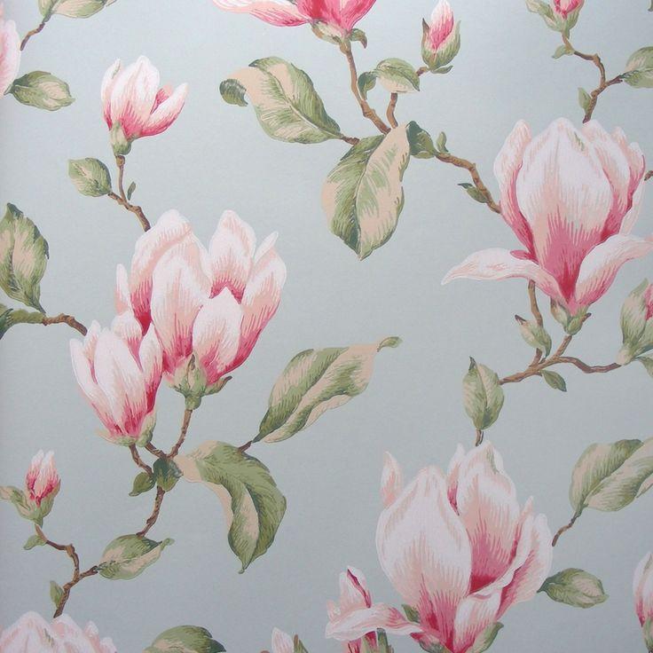Sart rosa magnolia blomster - Køb billig blomstret tapet online her!