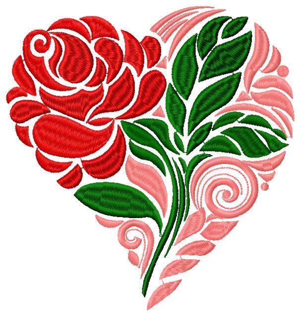 Роза сердце бесплатно вышивка дизайн - Цветы бесплатно станкостроения вышивки - Машинная вышивка сообщество