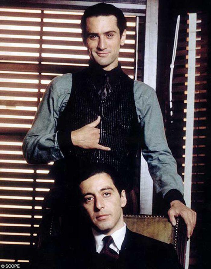 Robert De Niro y Al Pacino en el set de 'El Padrino, Parte II'