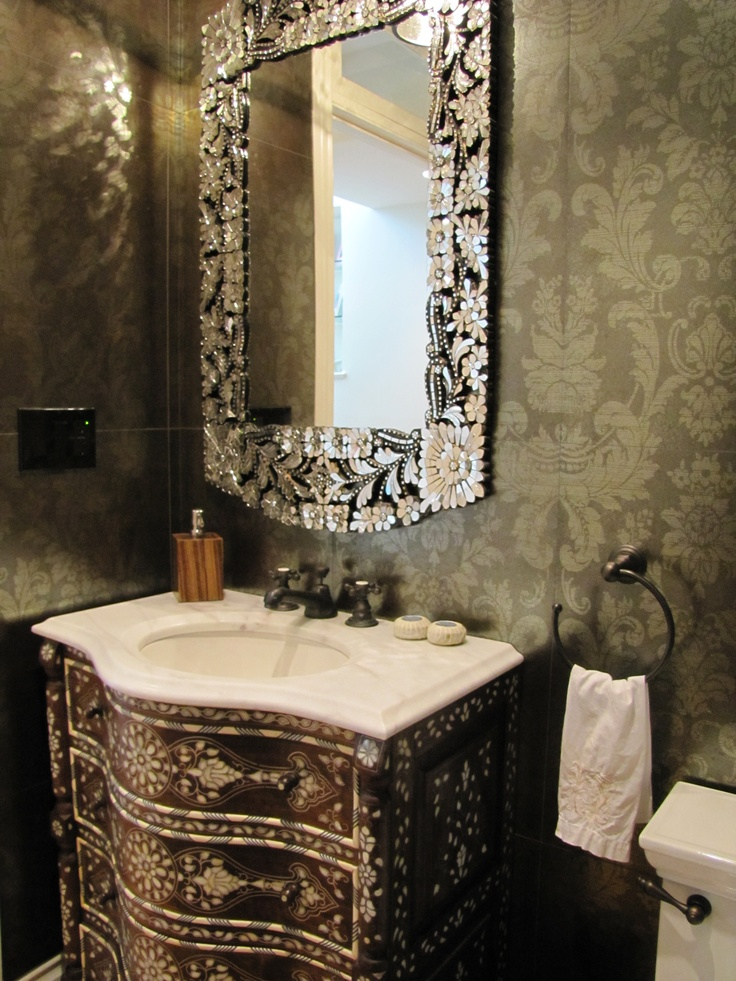 Powder Room Porcelanosa Tile On The Walls Bone Inlay