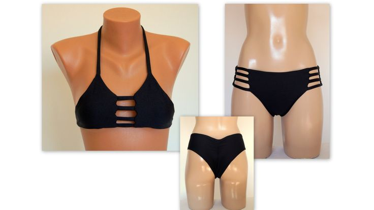 PADDED Black wrap around bikini top and strappy scrunch by bstyle