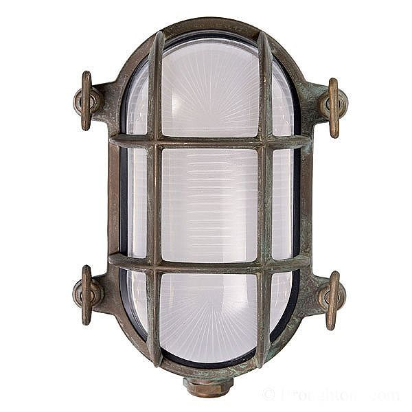 Oval Bulkhead Flush Outdoor Wall Light Small Aged Copper £72.00