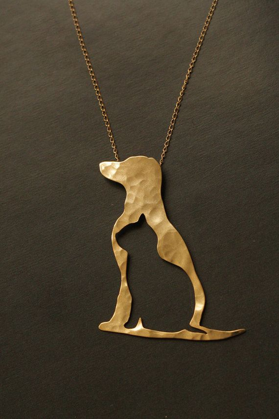 Dog and Cat Silhouette Golden Necklace Dog and Cat by meytalbarnoy